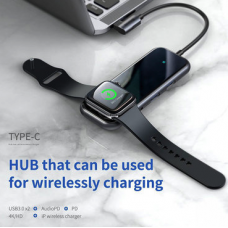 Baseus Adapter Superlative USB-C to 2xUSB3.0+HDMI+3.5mm+Apple Watch wireless charger Deep Gray (CAHUB-AZ0G)