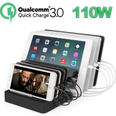 Smart Charging Station 8 USB Ports QC 3.0 110w - Black