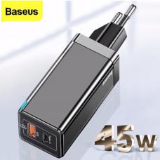 Baseus GaN Mini Quick Charger C+U 45W - Black (CCGAN-Q01)