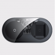 Baseus Simple 2in1 Wireless Charger 18W Max For Phones+Pods Transparent Black (WXJK-A01)