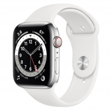 Apple Watch Series 6 GPS + Cellular 44mm Silver Stainless Steel Case w. White Sport B. (M07L3)