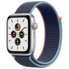 Apple Watch SE GPS + Cellular 44mm Silver Aluminum Case w. Deep Navy Sport L. (MYEN2)