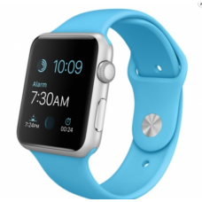 Apple Watch Sport 42mm Silver Aluminum Case with Blue Sport Band (MLC52LL/A)